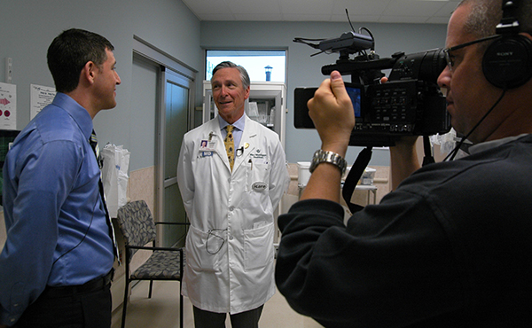 Jess Rigelhaupt interviewing Dr. J. Thomas Ryan.  Photo Credit: Mary Washington Healthcare